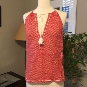 Joe Fresh Red White Boho Hippie Chic Tassel Tank
